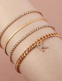 Fashion Golden Claw Chain With Diamond Letters Alloy Multilayer Anklet
