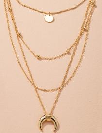 Fashion Golden Crescent Disc Alloy Multilayer Necklace