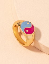 Fashion Golden Alloy Tai Chi Oil Dropping Color Ring