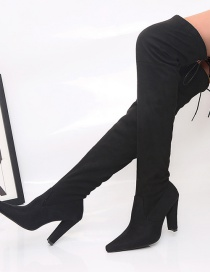 Fashion Black Pointed Suede Stiletto Heel Over-the-knee Boots