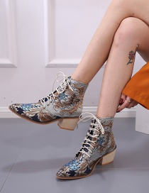 Fashion Blue Pointed Toe Chunky Heel Lace-up Non-slip Chunky Heel Martin Shoes