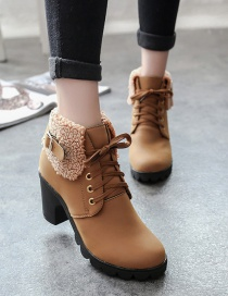 Fashion Brown Block-heel Round-toe High-heeled Lace-up Frosted Suede Martin Boots