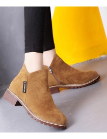 Fashion Brown Frosted Low Heel Non-slip Side Zip Short Boots
