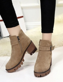 Fashion Khaki Frosted Non-slip Thick Heel With Belt Buckle Side Zipper Martin Boots