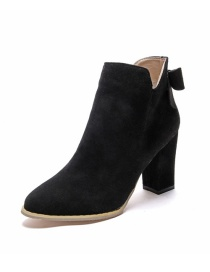 Fashion Black Pointed Toe Thick Heel And Bow Shallow Side Zipper Martin Boots