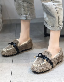 Fashion Apricot Furry And Velvet Flat Round Toe Bow Peas Shoes