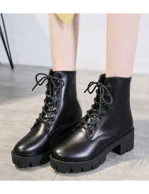 Fashion Black Round Toe Non-slip Lace-up Mid-tube Thick Heel Zip Martin Boots