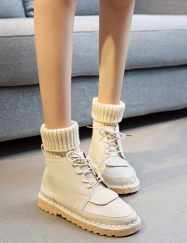 Fashion Beige Round Toe Flat-bottomed Non-slip Lace-up Warm Wool Booties