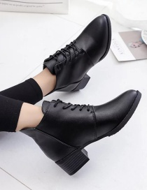 Fashion Black Deep-mouth Lace-up Pointed Mid-heel Boots