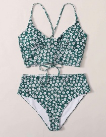 Fashion Green High-waisted Floral Print Tie Split Swimsuit