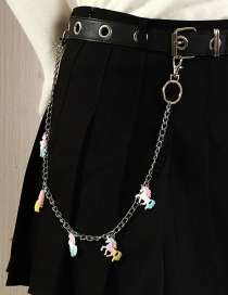 Fashion Color Mixing Unicorn Resin Alloy Pendant Waist Chain