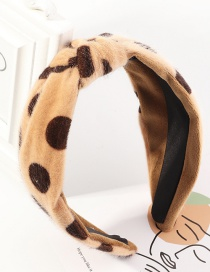 Fashion Coffee Color Leopard Print Broadside Polka Dot Knotted Fabric Headband