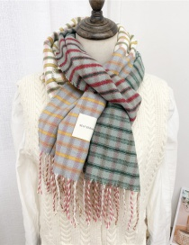Fashion Color Stripes Striped Fringed Shawl Double-sided Thickened Protective Scarf