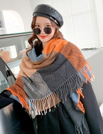 Fashion Back Shape Gray Back-shaped Plaid Thick Warm Shawl Double-sided Fringed Scarf