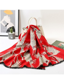 Fashion Crane Red Imitated Cashmere Geometric Jacquard Thickened Warm Shawl Double-sided Scarf