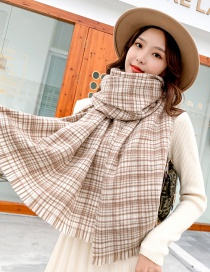 Fashion Hazy Grid Scattered Beard Light Coffee Striped Cashmere Fabric Wool Scarf