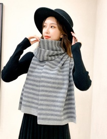 Fashion Striped Gray Striped Double-sided Thick Warm Knitted Scarf