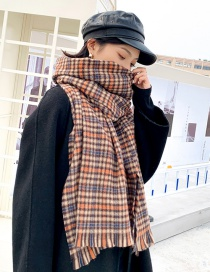 Fashion Camel Small Lattice Fringed Cashmere Double-sided Thick Warm Scarf