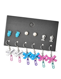 Fashion Color Mixing Drop Oil Bow Pearl Skull Earring Set