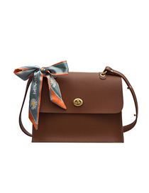 Fashion Brown Solid Color Silk Scarf With Bowknot Flap One Shoulder Messenger Bag