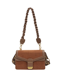 Fashion Brown Frosted Stitching Contrast Stone Pattern Shoulder Messenger Bag