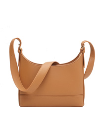 Fashion Yellowish Brown Stitching Solid Color Single Shoulder Messenger Bag