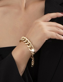 Fashion Gold Color Hollow Thick Chain Alloy Hollow Bracelet