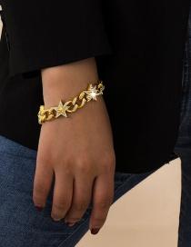 Fashion Gold Color Cuban Clasp Star Chain Diamond Alloy Bracelet