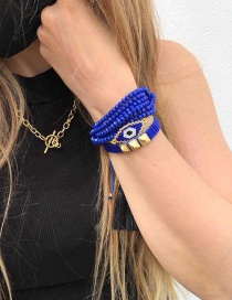 Fashion Suit Royal Blue Rice Beads Crystal Beaded Hand-woven Eye Rivet Bracelet