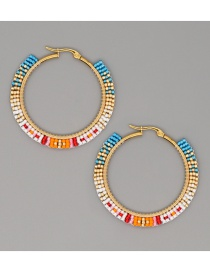 Fashion Color Mixing Geometric Rice Beads Hand-woven Round Earrings