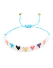 Fashion White Hand-woven Beaded Love Rice Bead Bracelet