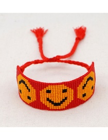 Fashion Red Rice Beads Hand-woven Beaded Smiley Bracelet