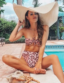 Fashion Red Leopard Print High Waist Knotted Print Split Swimsuit