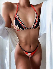 Fashion Red Printed Strappy Split Swimsuit
