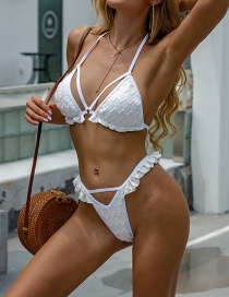 Fashion White Lace Solid Color Ruffled Split Swimsuit
