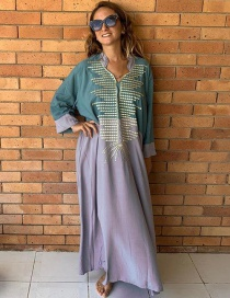 Fashion Green With Gray Loose Long Skirt Embroidered Loose Dress Long Skirt Blouse