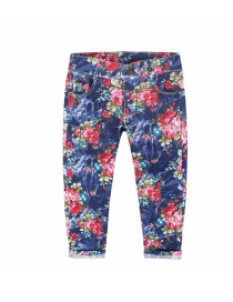 Fashion Blue Flowers Childrens Denim Pants With Flower Print