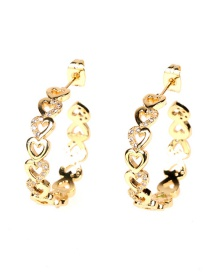 Fashion Golden C-shaped Love Circle Earrings With Diamonds