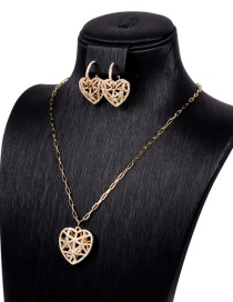 Fashion A Set Hollow Crystal Diamond Love Necklace Earrings Set