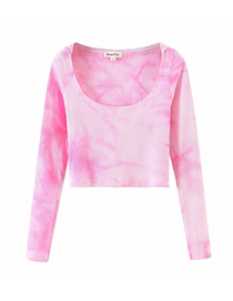 Fashion Pink Tie-dyed Pit Strip Hooded Knitted T-shirt Top