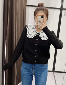 Fashion Black Embroidered Doll Collar Knitted Cardigan Top