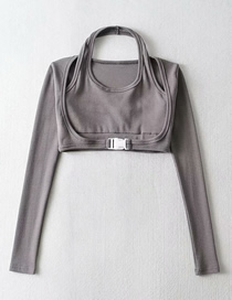 Fashion Dark Gray Fake 2 Halter Neck Stitching Long-sleeved Slim T-shirt Top