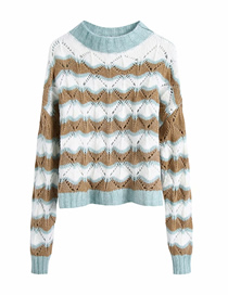 Fashion Color Mixing Hollow Pullover Loose Sweater Knit Sweater Top