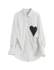 Fashion White Love Embroidered Striped Long Sleeve Shirt Top