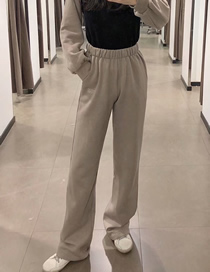 Fashion Gray Elastic Waist Loose Straight Trousers