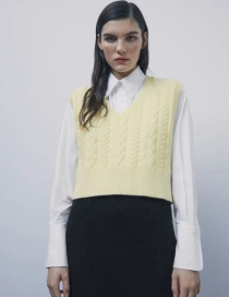 Fashion Yellow Eight-strand Woven V-neck Knitted Vest