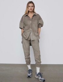 Fashion Gray Suede Single-breasted Loose Long-sleeved Shirt