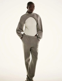 Fashion Gray Mid-neck Solid Color Sleeve Sweater