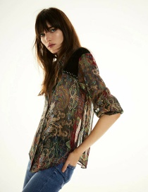Fashion Printing Velvet Print Shirt