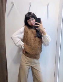 Fashion Coffee Color Eight-ply Braided High Neck Knitted Vest